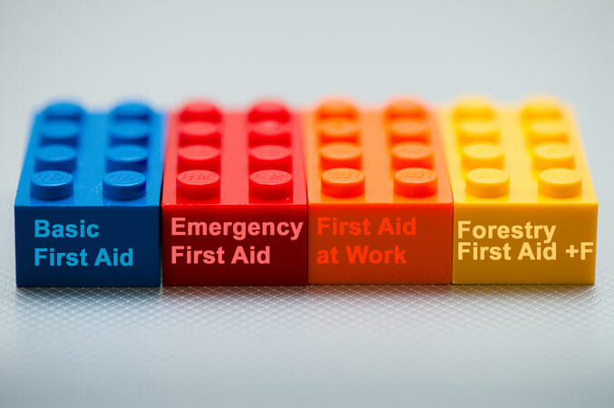 lego bricks with name of first aid courses on them