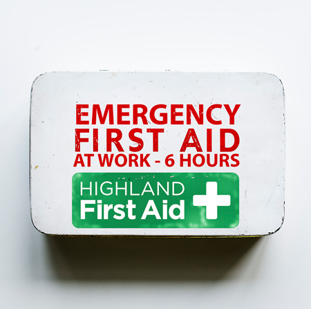First aid box with Highland first Aid logo