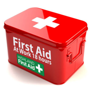 Red First Aid box with Highland First Aid Logo